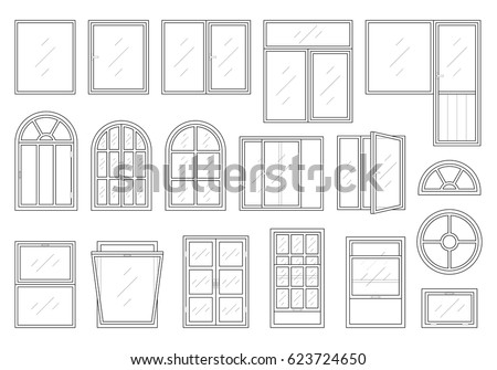 Decorative windows vectors download free vector art stock icons set of windows different types pictogram collection in thin linear style classic architecture thecheapjerseys Gallery