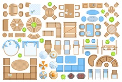Icons set. Outdoor furniture and patio items. (top view) Isolated Vector Illustration. Tables, benches, chairs, sunbeds, swings, umbrellas, plants. (view from above). Furniture store.