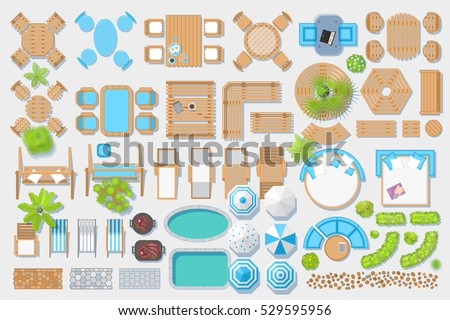 Icons set. Outdoor furniture and patio items. (top view) Isolated Vector Illustration. Tables, benches, chairs, sunbeds, paths, pool, swings, umbrellas, plants. (view from above). Furniture store.