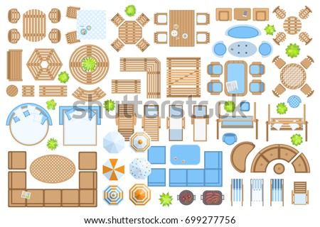 Outdoor Furniture And Patio Items Top View Isolated Vector Illustration