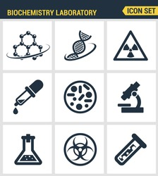 Icons set premium quality of biochemistry research, biology laboratory experiment. Modern pictogram collection flat design style symbol . Isolated white background
