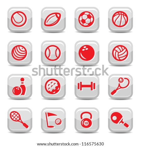Icons set sports and games for web and mobile.