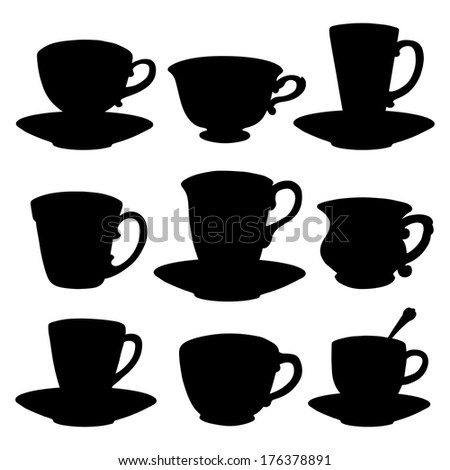 tea cup and saucer silhouette