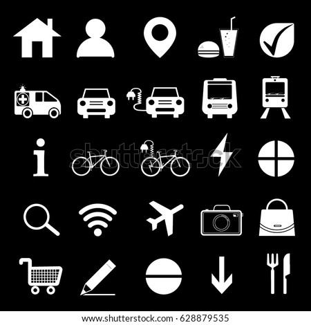 Icons set. Vector white pictograms for programs - vector illustration