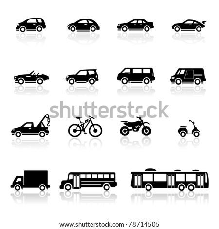 Icons set vehicles