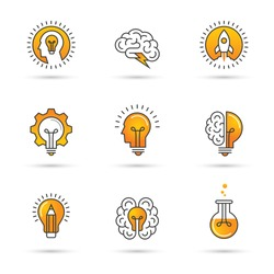 Icons set with brain, light bulb, human head. Creative idea, mind, nonstandard thinking logo. Isolated on white background