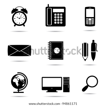 Icons silhouette office equipment  for web or print design