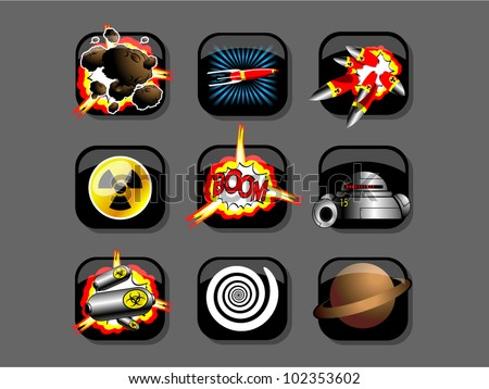 icons space cartoon - stock vector