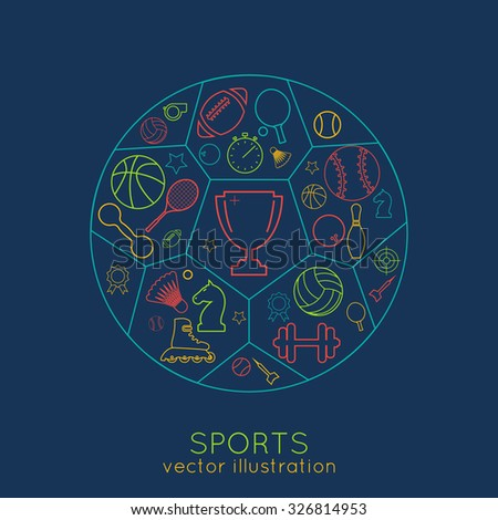 icons sports line. thin line of colored icons. logo. vector illustration