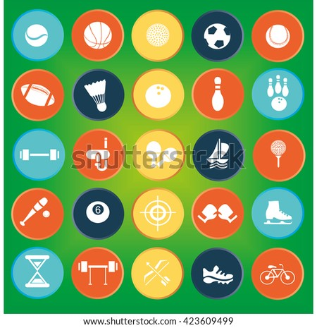 icons sports, soccer, tennis, bowling