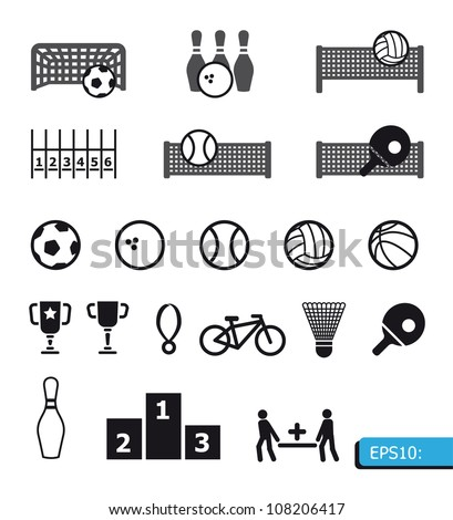 icons sports vector on black buttons
