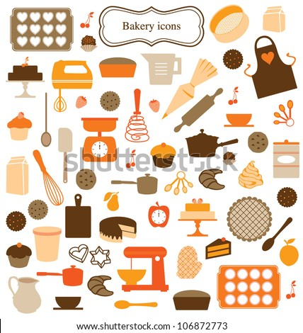 ICONS, SYMBOLS AND GRAPHIC ELEMENTS OF KITCHEN TOOLS. Editable vector illustration file.