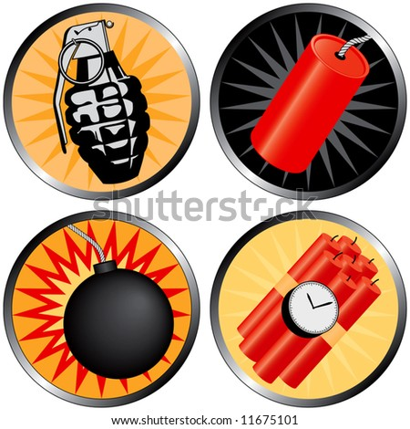 Icons that go BOOM! Including a grenade, bomb, time bomb and firecracker.