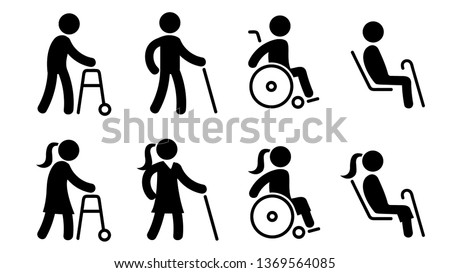 Icons that represent people with disabilities. Handicapped men and women