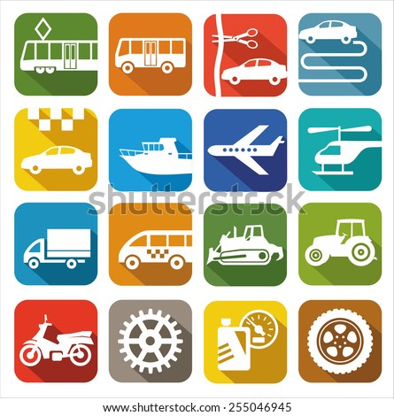 Icons transport. Color images, icons of the city and public transport. For printing and websites.