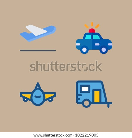 icons Transport with aeroplane, caravan, departure-arrival, police car and departure plane