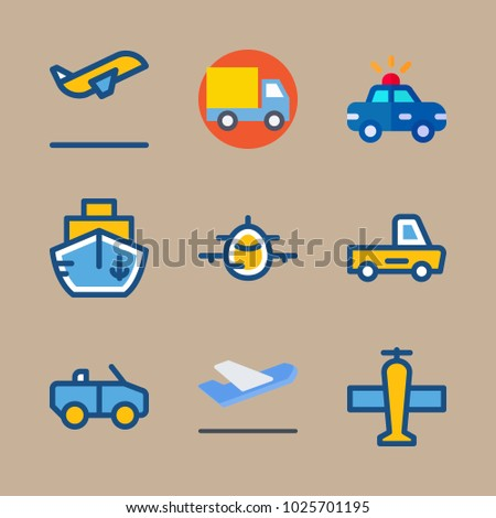 icons Transport with airplane, cabriolet, departure-arrival, departure plane and car