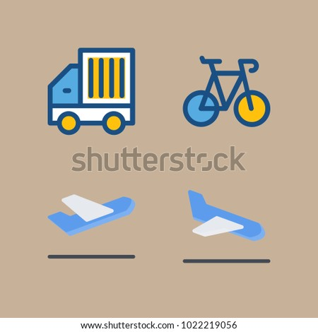 icons Transport with airplane, departure plane, departure-arrival, goods car and bicycle