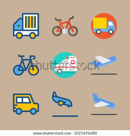 icons Transport with departure-arrival, ambulance, arrival, departure plane and goods car