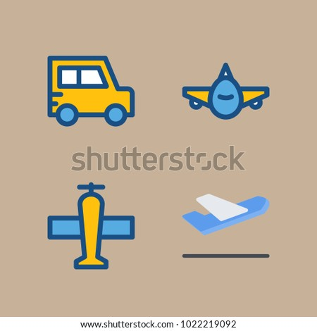 icons Transport with departure plane, aeroplane, airplane, departure-arrival and plane