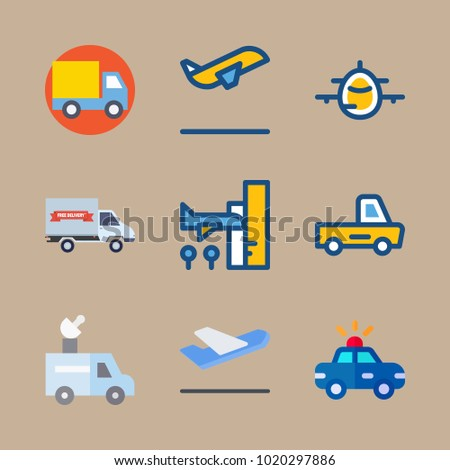 icons Transport with departure plane, arrival, aircraft, departure-arrival and police car