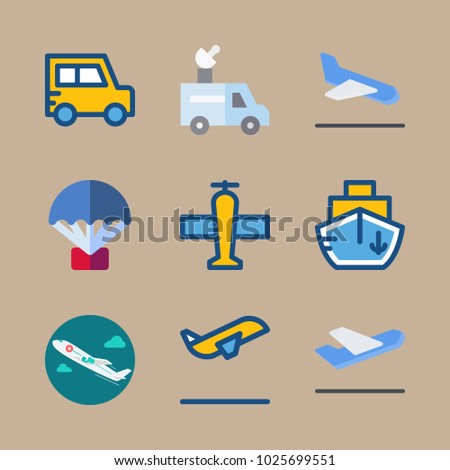 icons Transport with departure plane, arrival, parachute, departure-arrival and ship