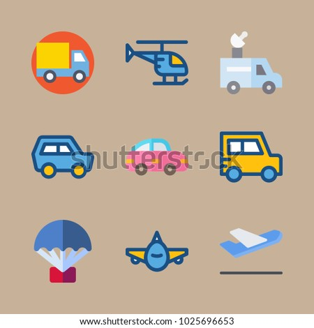 icons Transport with departure plane, helicopter, departure-arrival, plane and front side
