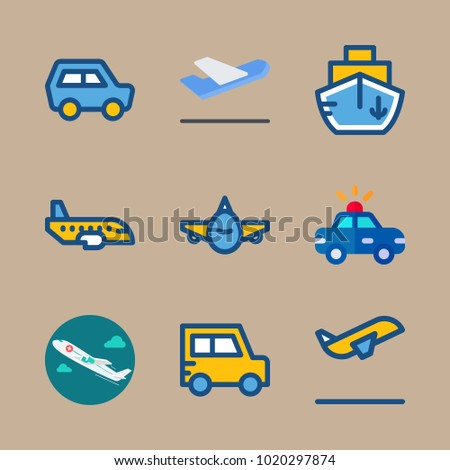 icons Transport with medical airplane, departure, ship, departure-arrival and backside
