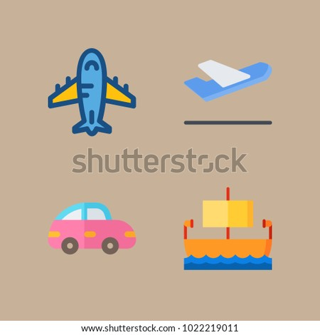 icons Transport with ship, aeroplane, departure plane, departure-arrival and airplane