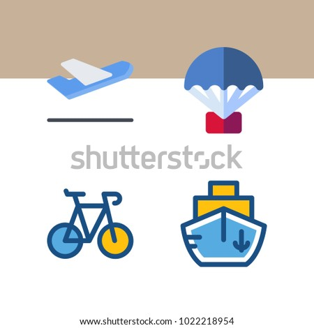 icons Transport with ship, departure-arrival, boat, departure plane and airplane