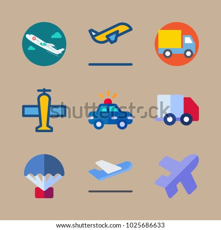 icons Transport with truck, parachute, departure plane, delivery truck and departure