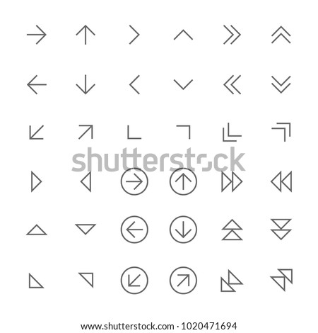 icons vector thin arrows outline set grey on white background