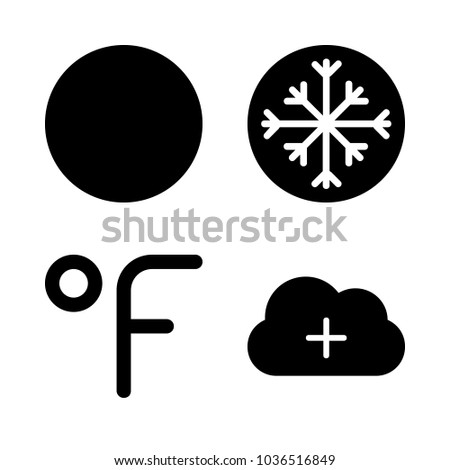 Icons Weather with cloud, full moon, snowflake and fahrenheit degrees