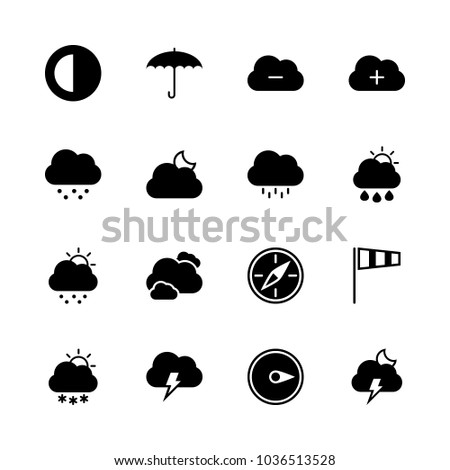 Icons Weather with cloudy night, black compass, cloud with flash, cold day and cloud