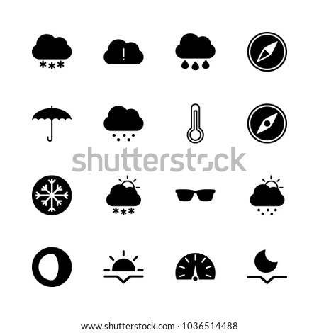 Icons Weather with cold day, compass, black cloud, sunset and thermometer