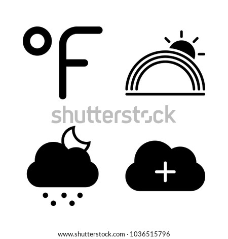 Icons Weather with cold night, cloud, rainbow and fahrenheit degrees