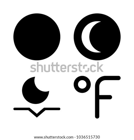 Icons Weather with crescent moon, moonset, fahrenheit degrees and full moon