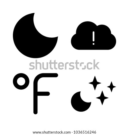 Icons Weather with fahrenheit degrees, crescent moon, stars, black cloud and moon