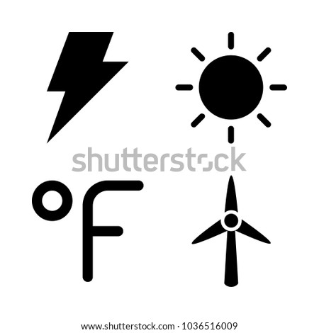 Icons Weather with fahrenheit degrees, flash, black sun and wind turbine