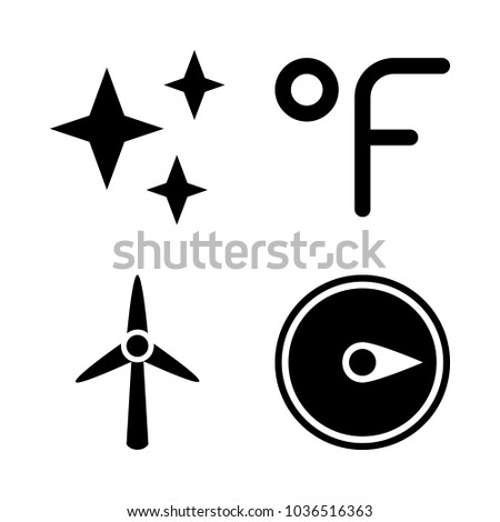 Icons Weather with fahrenheit degrees, stars, wind turbine and black compass