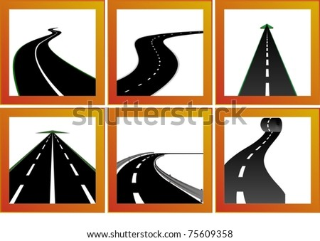 Icons with abstract images of roads and road markings