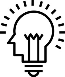 Icons with brain, light bulb, human head. Creative idea, mind,thinking logo.