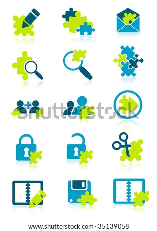 Icons with puzzle elements, vector illustration, EPS file included