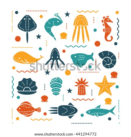 icons with sea creatures and