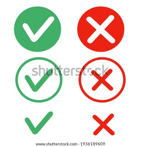 Icons yes and no vector graphics. confirmation and cancellation Foto stock ©