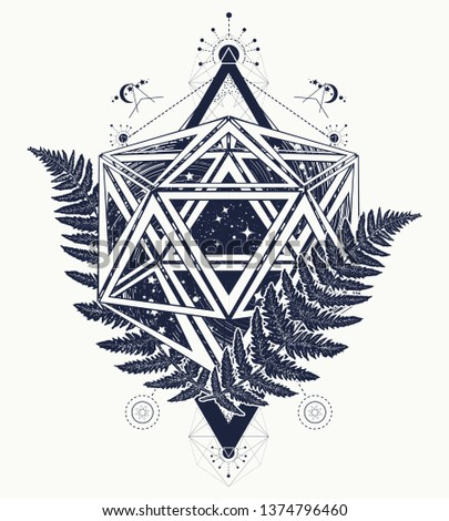 Icosahedron and fern. Mathematical art. Esoteric symbol physics, science and chemistry. Alchemy philosophers stone concept. Sacred geometry tattoo and t-shirt design