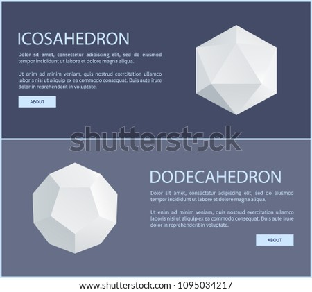 Icosahedron dodecahedron isometric patterns set vector illustration with text and buttons, polygonal prisms triangles and hexagons, 3d prism element