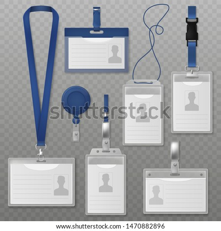 Id badge. Identification plastic cards with holders and neck lanyards for security, press conference visitors. Realistic vector label businessman photo design set