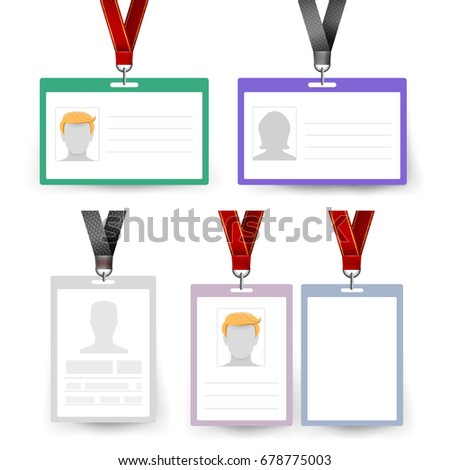 Id Badge Set Vector. Name Tag. Employee Card. White Blank Plastic Id Card. Identification Card Template. White Blank Plastic Id Card