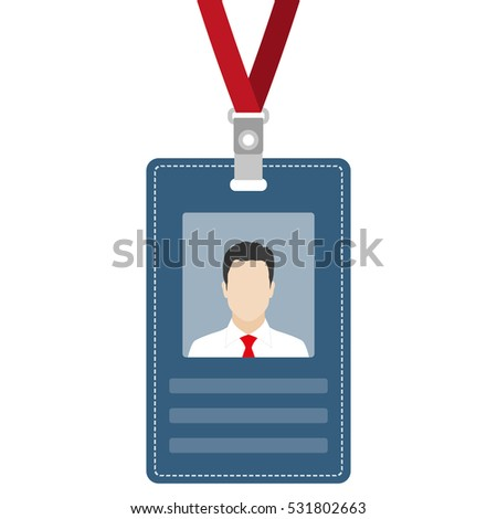 ID card, badge or access card with lanyard. Vector illustration.